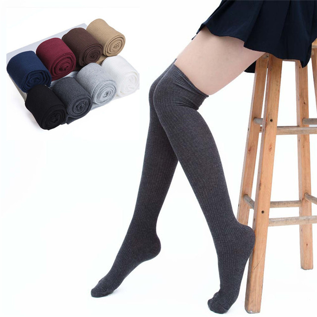 e3a555fc5 Stockings 7 Colors Fashion Women s Stockings Sexy Warm Thigh High Over The Knee  Socks Long Cotton Stockings Girls Ladies Women