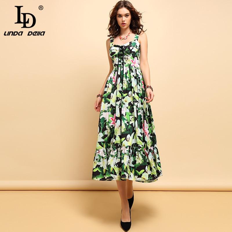 LD LINDA DELLA New Fashion Spring Summer Midi Dress Women 39 s Casual Spaghetti Strap Bow Tie Draped Floral Printed Elegant Dresses in Dresses from Women 39 s Clothing