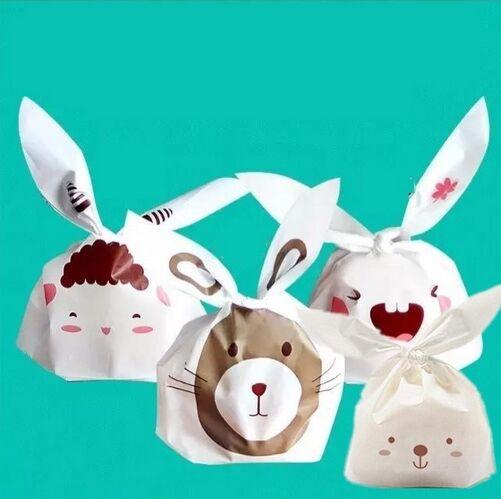 50 шт. / Лот 4 видів Тип Cookie Пакет Lovely Кролик Вівці Зайчик Шаблон Пластиковий Мішок Для Печива Снек Цукерки Випічки Пакет  t