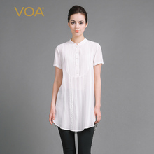 White short sleeve blouse for women casual double crepe silk stand collar shirts patchwork Vertical stripes blouse 3xl B6932