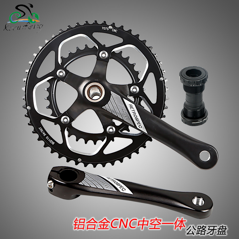 цена на Aluminum Alloy Bicycle Fixed Gear Crankset 170mm 110 BCD Mountain Bike CNC Hollow Crank Chainwheel 34-50T Bracket