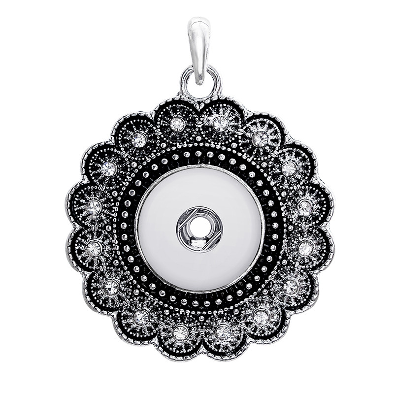 Fashion 18mm metal snap button jewelry crystal pendant necklace for women mens Vintage accessories