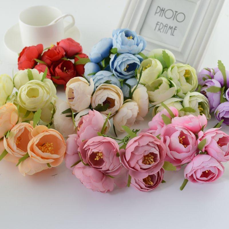 N30pcs Silk Tea Bud Artificial Flowers For Wedding Car Decoration