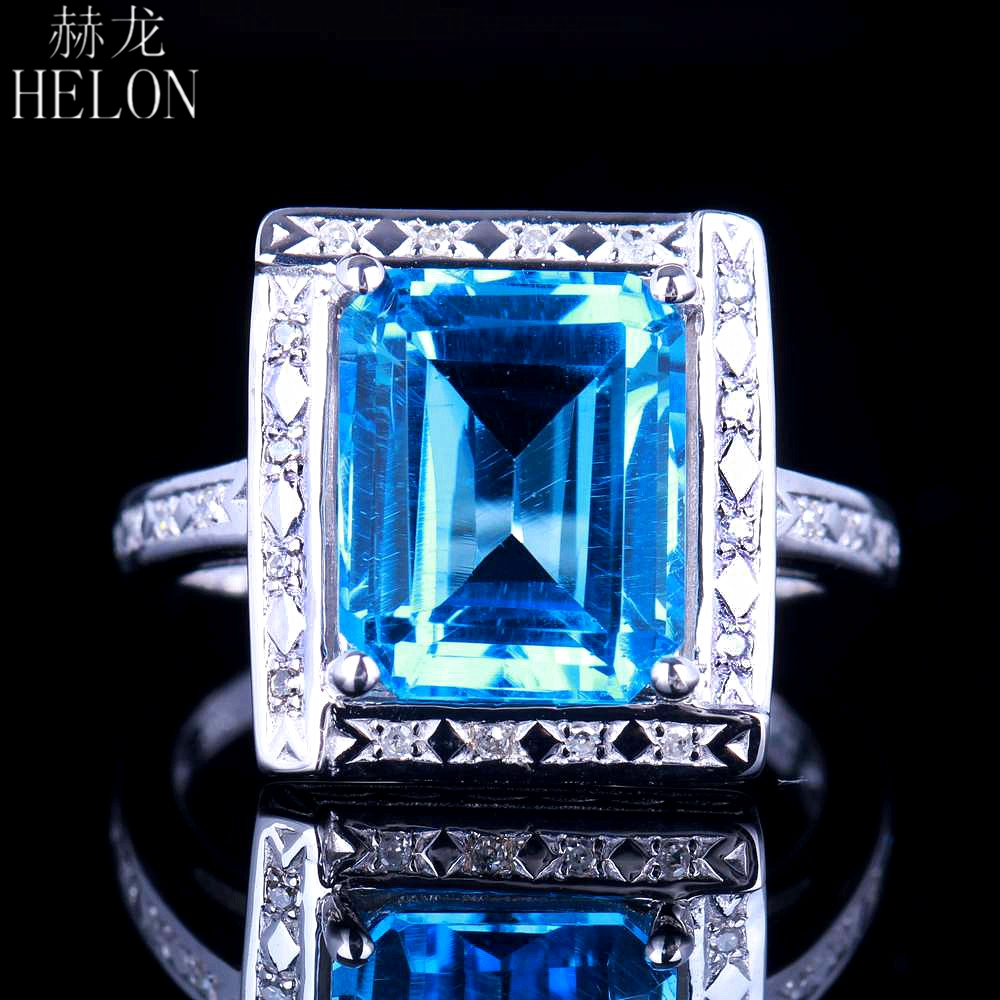 HELON Solid 10kt White Gold Flawless 4.36ct Emerald Cut Genuine Blue Topaz Natural Diamond Engagment Wedding Jewelry Ring 11x9mm helon sterling silver 925 flawless 11x9mm emerald cut 4 36ct real blue topaz natural diamond engagment wedding ring fine jewelry
