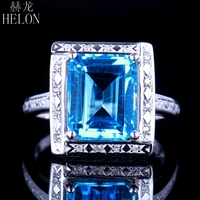 HELON Solid 10kt White Gold Flawless 4.36ct Emerald Cut Genuine Blue Topaz Natural Diamond Engagment Wedding Jewelry Ring 11x9mm