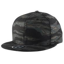 WuKe Embroidery Snapback, Baseball Hat Flat Brim Hip Hop Caps, Black camouflage Waves