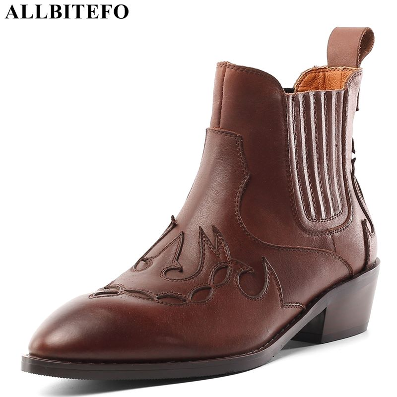 ALLBITEFO genuine leather thick heel women boots high heel boots girls boots winter shoes comfortable breathable ankle boots-in Ankle Boots from Shoes    2