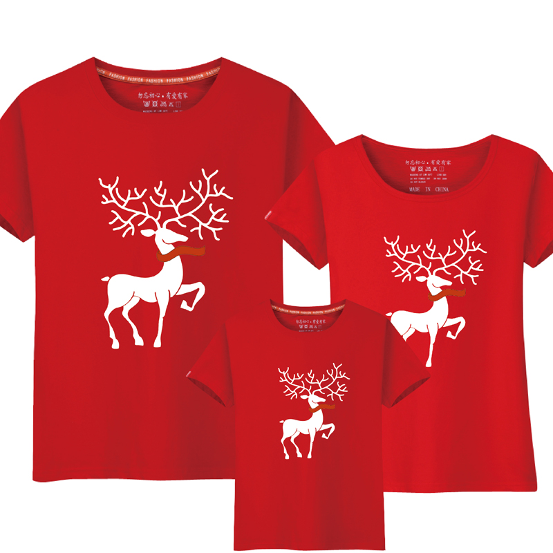 Christmas Mom Daughter Clothes Father Son Matching Clothing Family Look Cartoon Milu Deer Family Clothing Dad Mom Boy T-Shirt