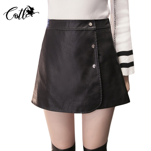 Pantalones Cortos de Cintura alta Faldas Para Mujer Otoño Culottes Del Todo-Fósforo de La Manera Outwear Gris/Negro Cuero de LA PU Botas Mujeres Shorts Mujer 2017