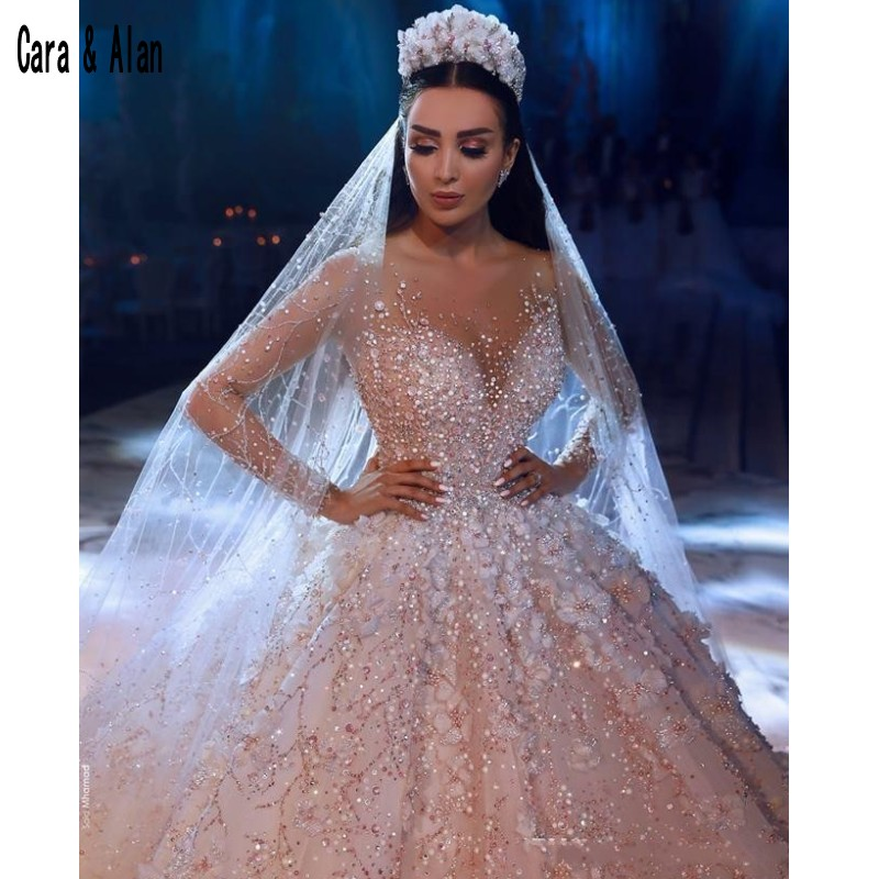 2019 Dubai Arabic Wedding Dresses Lace Appliques Off: 2019 Luxury Ball Gown Wedding Dresses Lace Appliques