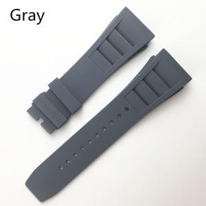 Image 2 - MERJUST 20mm אדום שחור ירוק אפור כתום צהוב רך סיליקון גומי רצועת השעון עבור ריצ רד שעון Mille RM011 רצועת צמיד