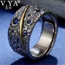 V. יה כחול זירקון 925 טבעת כסף גברים תאילנדי כסף פתוח טבעת Homme תכשיטים Anillos מתנות