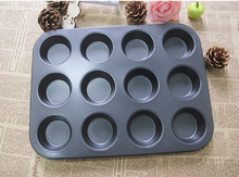 1PC 12 Cups Non Stick Baking Pan Muffin Cake Round Shape Carbon steel Mould Cupcake Maker Molds JC 0524