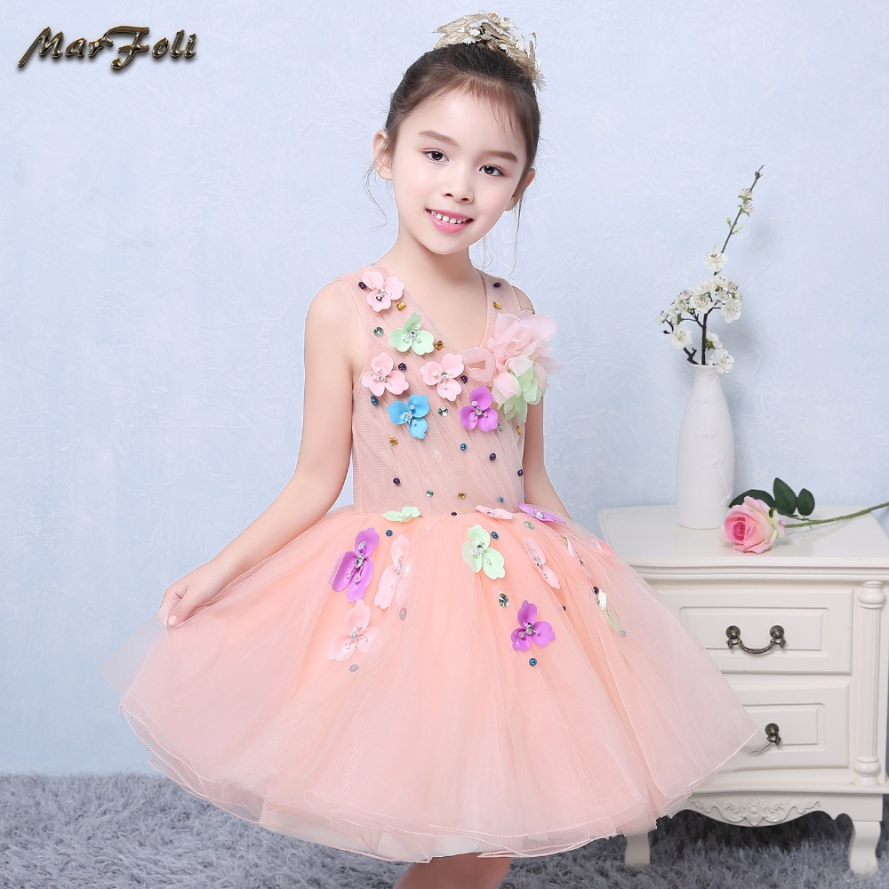 Marfoli Flower Girl Dress Pink A-Line Wedding Pageant Kids 2017 festival Princess holiday Party Dresses formal Clothes ZT025 marfoli girl princess dress birthday