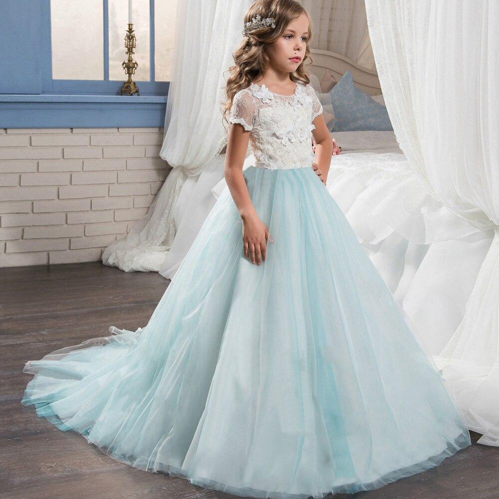 US $14.98 25% OFF|Niebieski długi tiul sukienka dla dziewczynek ślub dziecięca biała sukienka haftowana dziewczyna Graduation ubrania na wieczorne