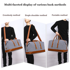 Image 5 - Markroyal 새로운 캔버스 대용량 패션 더플 백 여성용 위 켄더 오버 나이트 백 오버 사이즈 블루 스트립