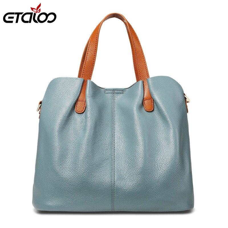 Las mujeres de cuero genuino bolso de alta calidad de las señoras de moda bolsa de hombro de Color sólido Bolsa-