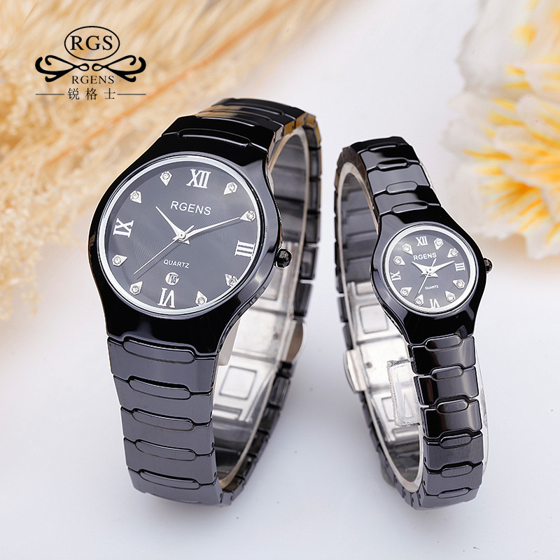 women watches quartz 100% ceramics black white luxury brand RGENS woman wristwatches diamond waterproof ladies clocks 2018