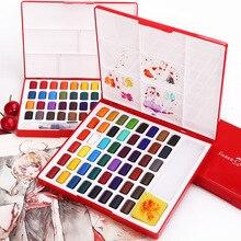 Faber castell Juego de pintura acuarela sólida, 24/36/48 colores, con pincel, pigmento de acuarela portátil, suministros de arte de pintura