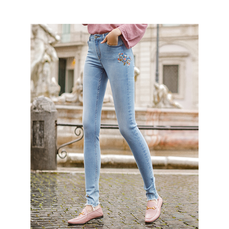 INMAN Spring Spring Autumn Light Color Embroidery Casual High Waist Skinny Jeans Women Full Length Pencil Jeans