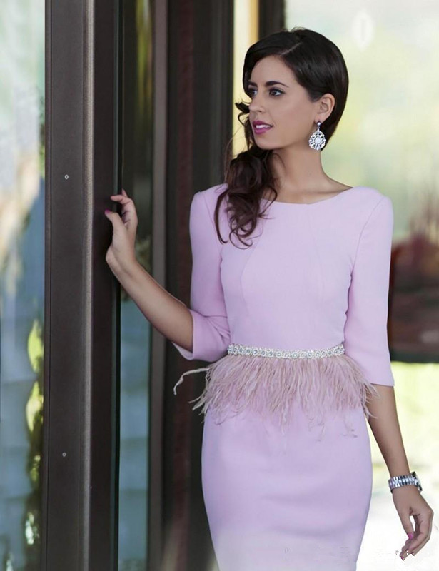Backless 2019 Cocktail Dresses Sheath 3/4 Sleeves Feather Beaded Backless Elegant Party Homecoming Dresses