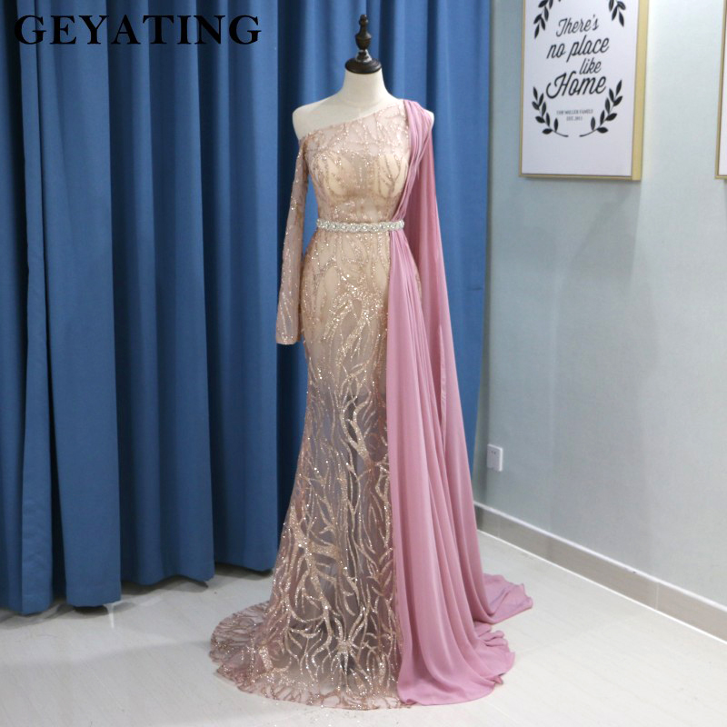 Arabic Dubai Evening Dress with Long Sleeve One Shoulder Cape One Shoulder Rose Gold Sequins Champagne Mermaid Prom Dresses 2019(China)