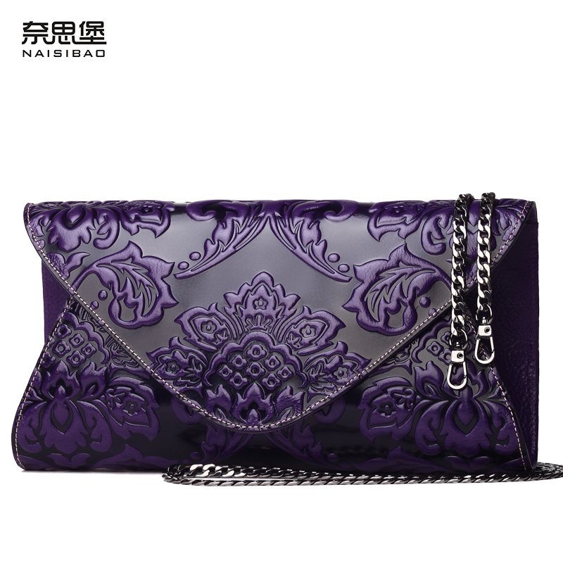 NAISIBAO women messenger bags luxury clutch bags designer genuine leather handbag lady vintage chain women shoulder bag
