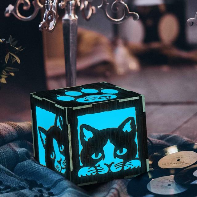 1Piece Peeping Cats Night Light Cute Kity LED Lantern Kid Room Night Lamp Magical Cats Silhouette Lamp Box
