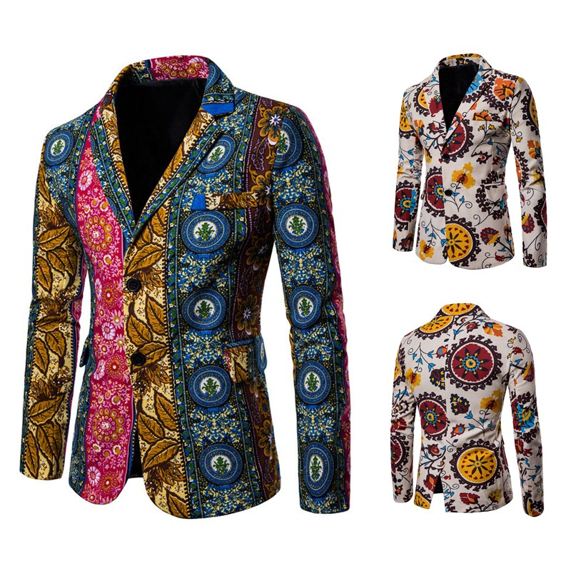 HuLooXuJi New Arrival Men Vintage Blazer Cotton Linen Nationality Printed Jacket Popular Blazers Men Suits Jackets US Size:XS XL