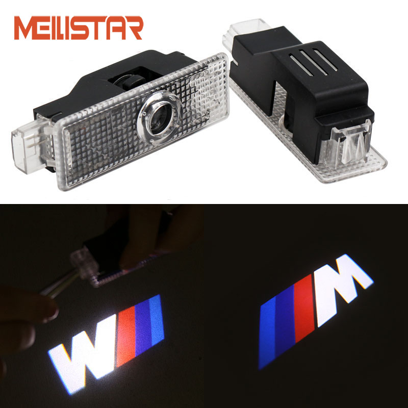2Pcs / Lot LED Car Door Courtesy Laser Projector Logo Ghost Shadow Light for BMW E39 X5 E53 528i E52 M M5 Logo Car-styling for most cars 2pcs led car door light courtesy logo laser projector punching ghost shadow lamp lights for cadillac logo
