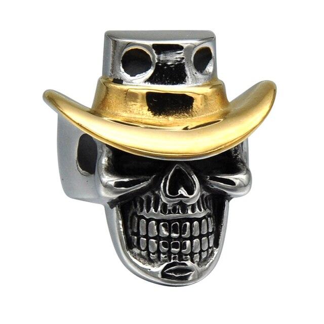 HIP Punk Gothic Skeleton Skull Rings Gold Color Titanium Stainless ...