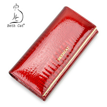Brand Fashion Alligator Womens Wallets and Purses Patent Genuine Leather Ladies wallets