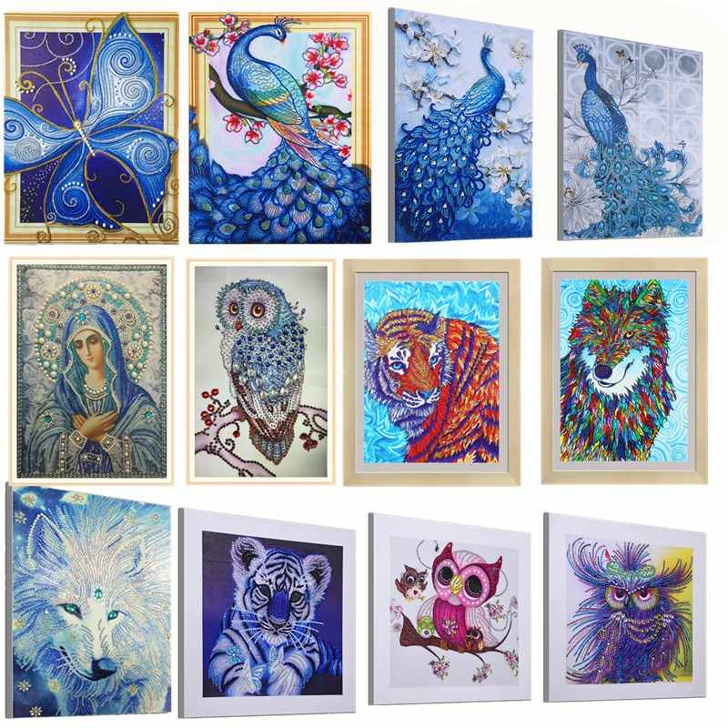 Special Shaped Diamond Painting Butterfly Peacock Wolf Owl Flower DIY 5D Partial Drill Cross Stitch Kits Crystal Rhinestone Arts