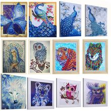 Special Shaped Diamond Painting Butterfly Peacock Wolf Owl Flower DIY 5D Partial Drill Cross Stitch Kits Crystal Rhinestone Arts(China)