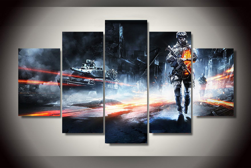Hd gedruckt battlefield spiel poster ungerahmt 5 st cke for Dekorative bilder wohnzimmer