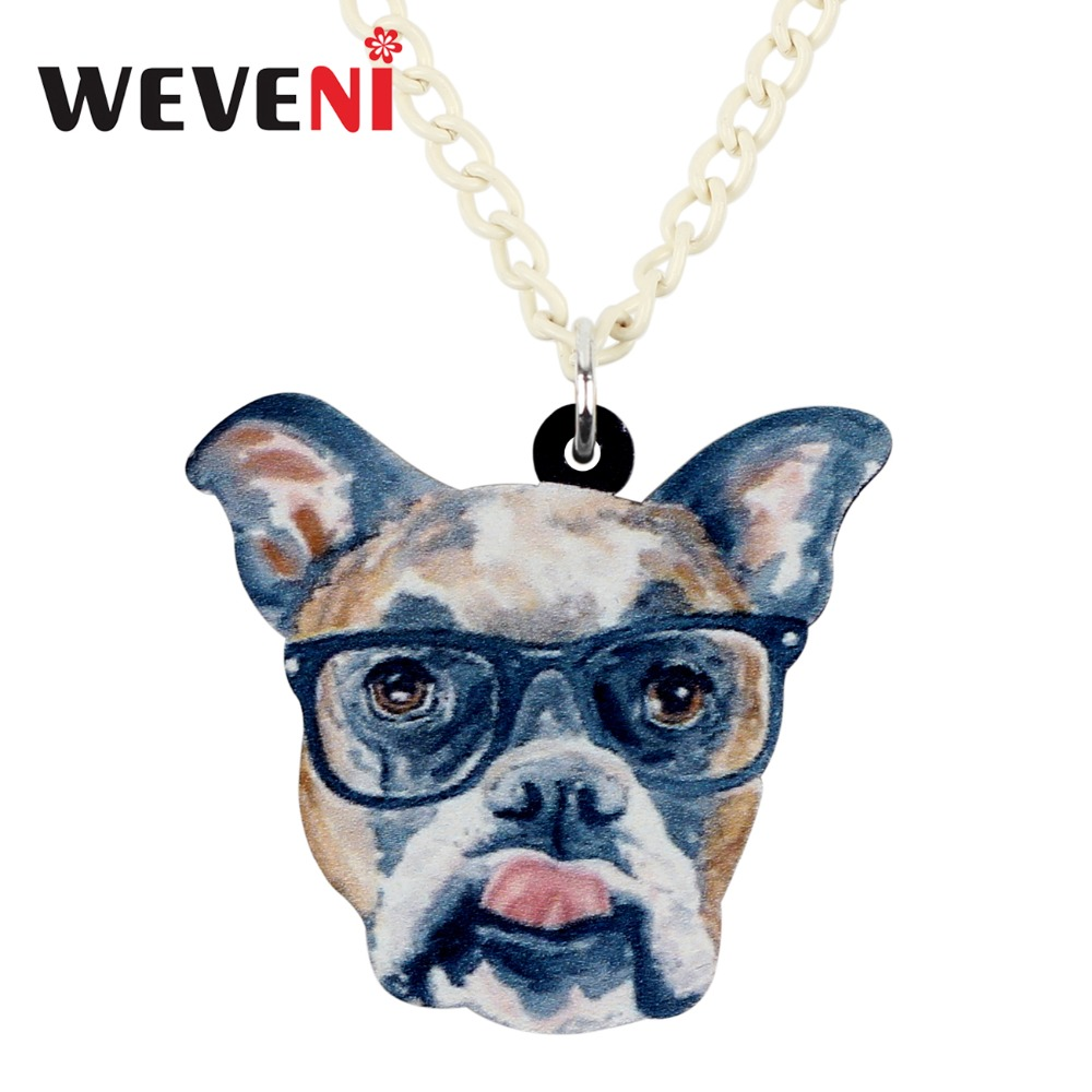 WEVENI Statement Acrylic Glasses Boxer Dog Necklace Pendant Collar Animal Jewelry For Women Girls Teens Kids Cartoon Gifts Bulk