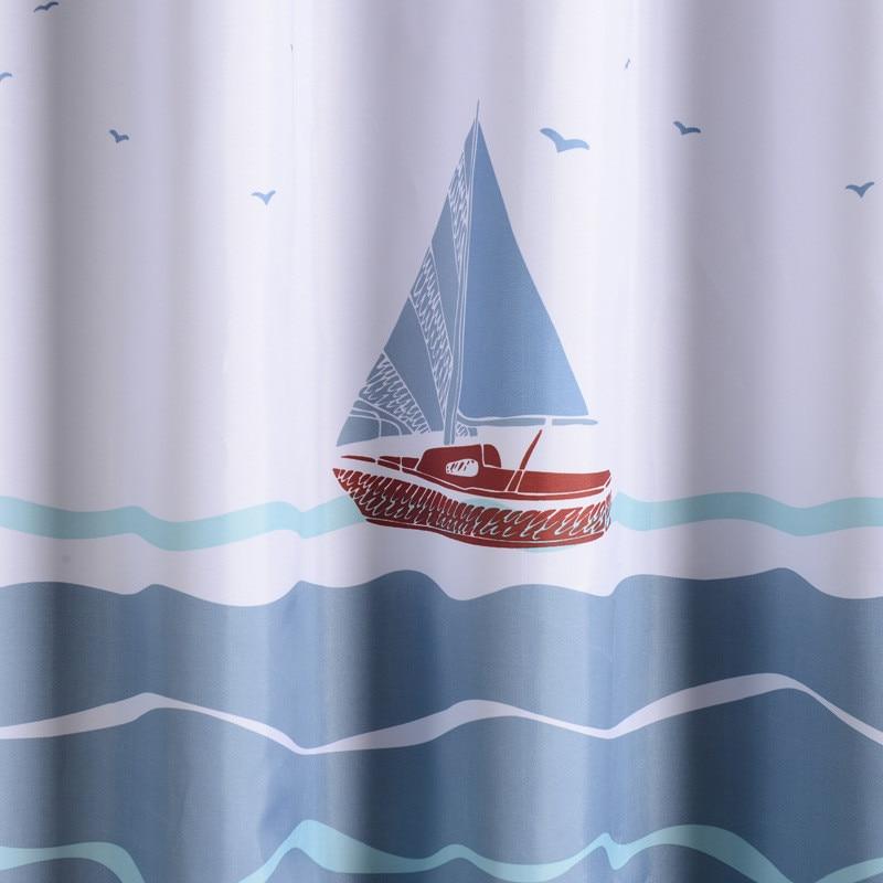 >Modern Ocean Sailing Boat Polyester Shower Curtain Bathroom <font><b>Waterproof</b></font> <font><b>Mildewproof</b></font> Washable Home Decoration Bath Curtains