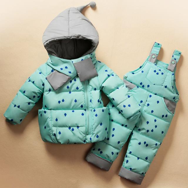 Dois pcs terno meninos das meninas Do Bebê inverno para baixo roupas Quentes definir Adequado para crianças Bonito desgaste neve engrossar down jacket Snowsuit