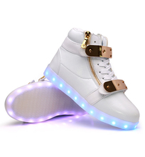 7colors men women LED shoes chaussures luminous adult light up casual shoes high top 36 44high