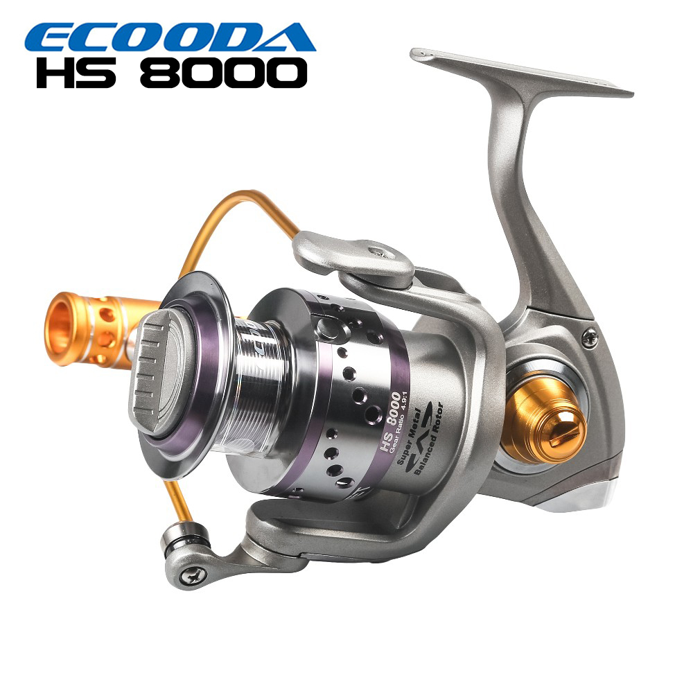 ECOODA Hornet Heavy Duty Metal Spinning Jigging Fishing Reels Saltwater Boat Rock Fishing Reel HS8000 hiumi 30kg power drag 3000 8000 daiwa saltiga alike spinning reels heavy duty sea fishing boat fishing jigging fishing reel