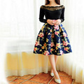 Vintage High Waist Pleated Midi Skirt Women Houndstooth Floral Print Long Skirts 2016 Summer Style