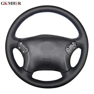 Image 1 - GKMHiR DIY siyah direksiyon kılıfı suni deri araba direksiyon kılıfı Mercedes Benz için W203 C 2001 2007