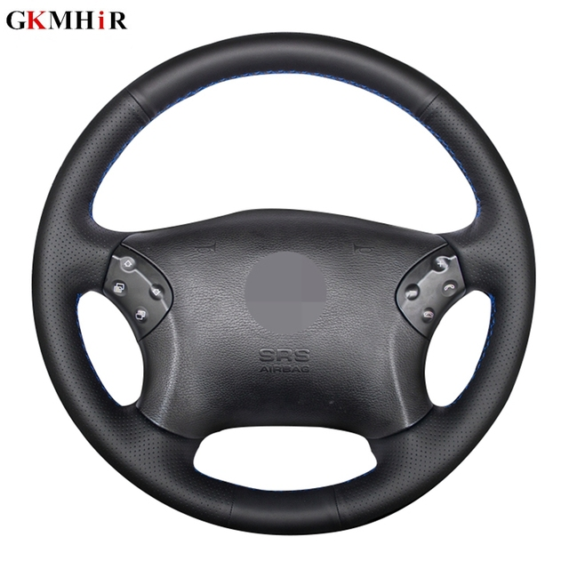 GKMHiR DIY siyah direksiyon kılıfı suni deri araba direksiyon kılıfı Mercedes Benz için W203 C 2001 2007