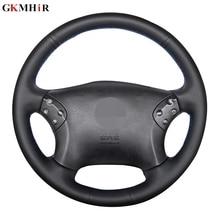 Gkmhor capa para volante de carro em couro artificial, capa preta para mercedes benz w203 c classe 2001 2007