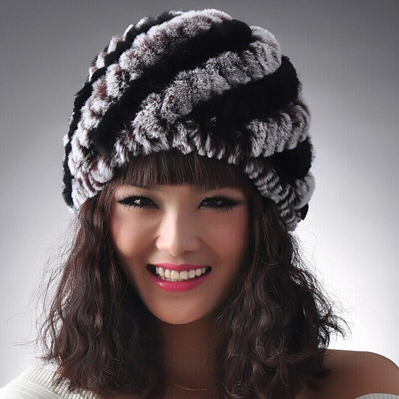 ZDFURS 2016 Knitted Real REX Rabbit Fur Hat Women Cap Winter Skullies Beanie Headgear Headdress Head Warmer Top Quality