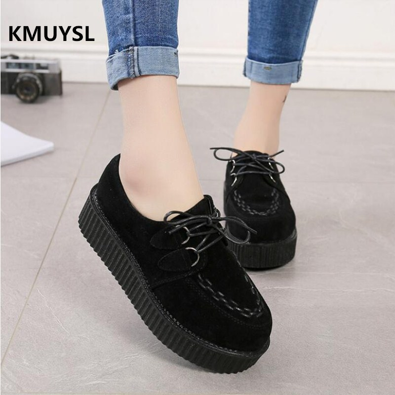 2017 Women Flats Creepers Shoes Black Red Suede Vintage Creepers Platform Shoes Women Boats shoes vintage embroidery women flats chinese floral canvas embroidered shoes national old beijing cloth single dance soft flats