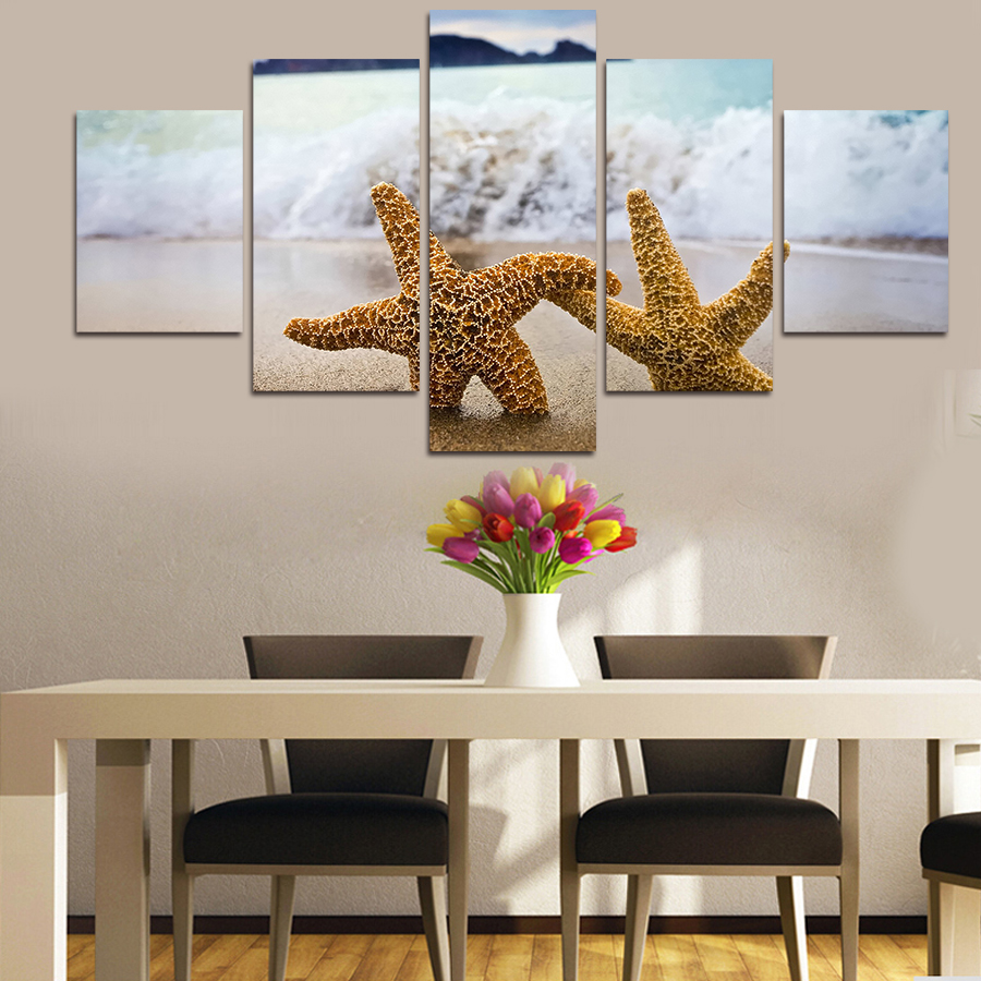 Free Shipping Home Decorators: Free Shipping 5 Pcs Painting Two Starfish Canvas Wall Art