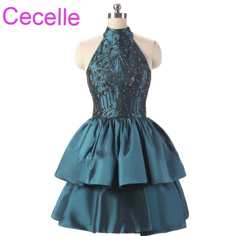 Vintage Beading Short   Cocktail     Dresses   2019 High Neck A-line Teens Informal   Cocktail   Party   Dresses   Couture Custom Made Real