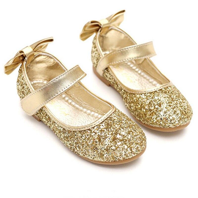 Children Princess Glitter Sandals 2018 Kids Girls Soft Shoes Sequin Bow Dress Party Shoes Princess Girl Dancing Flats D0861