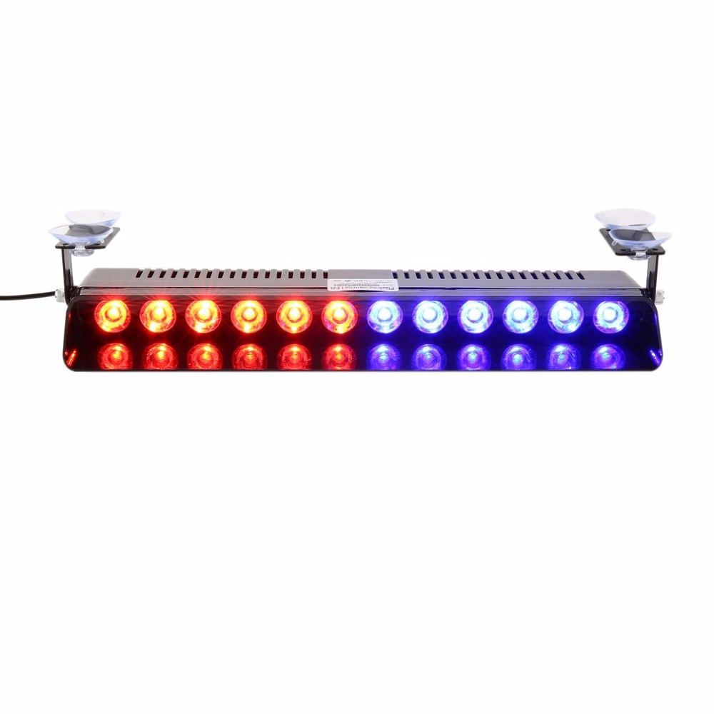 Multi-function 12 LEDs Car Emergency Strobe Light Bar 12W High Power Police Flashing Warning Visor Deck Dash Lamp Colorful Light